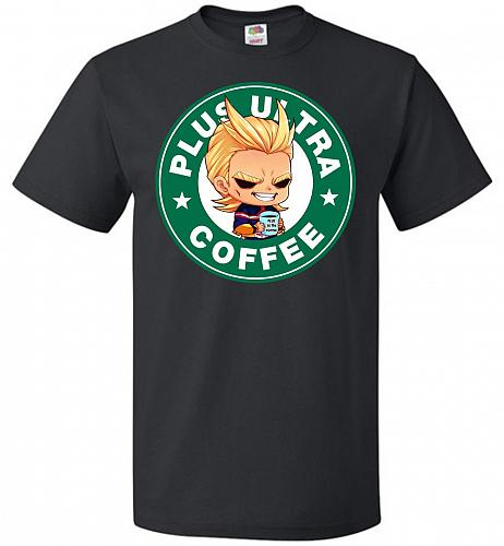 Plus Ultra Coffee Unisex T-Shirt Pop Culture Graphic Tee (M/Black) Humor Funny Nerdy