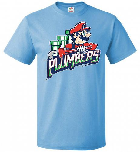 Plumbers Unisex T-Shirt Pop Culture Graphic Tee (6XL/Aquatic Blue) Humor Funny Nerdy