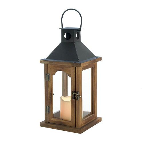 *18496U - Simple Wood Rustic Lantern w/LED Pillar Candle