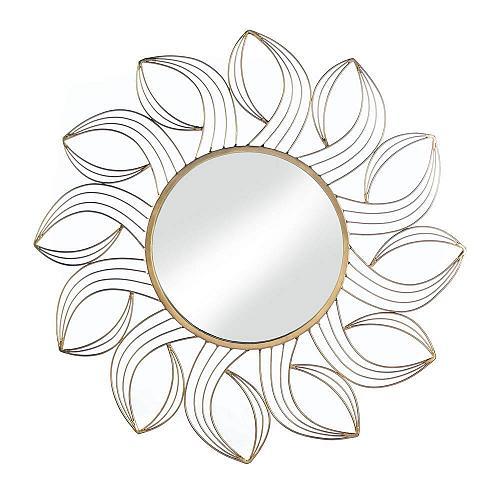 "*18490U - Golden Petals 25"" Frame Round Hanging Wall Mirror"