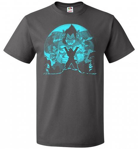 Saiyan Sized Secret Unisex T-Shirt Pop Culture Graphic Tee (3XL/Charcoal Grey) Humor