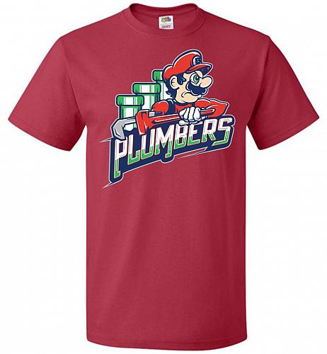 Plumbers Unisex T-Shirt Pop Culture Graphic Tee (4XL/True Red) Humor Funny Nerdy Geek