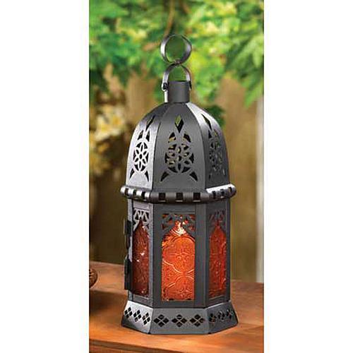 33145U - Moroccan Style Metal Tea Light Candle Lantern Amber Pressed Glass