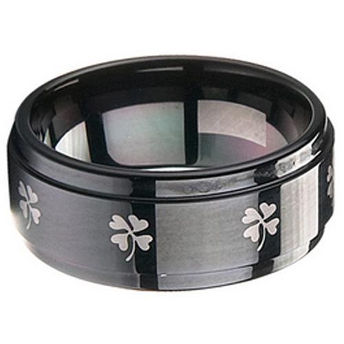 coi Jewelry Black Tungsten Carbide Clover Wedding Band Ring
