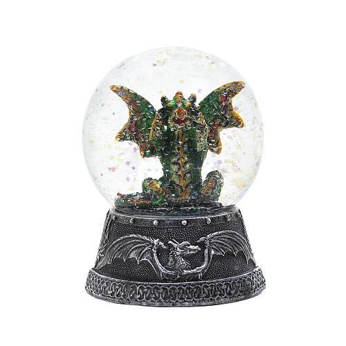 """*18452U - Green Dragon Figure 4"""" Tall Water Globe"""