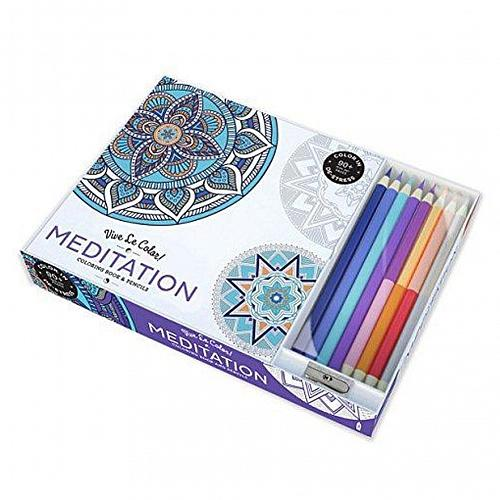 :10954U - Meditation 96 Page Adult Coloring Book w/8 Colored Pencils