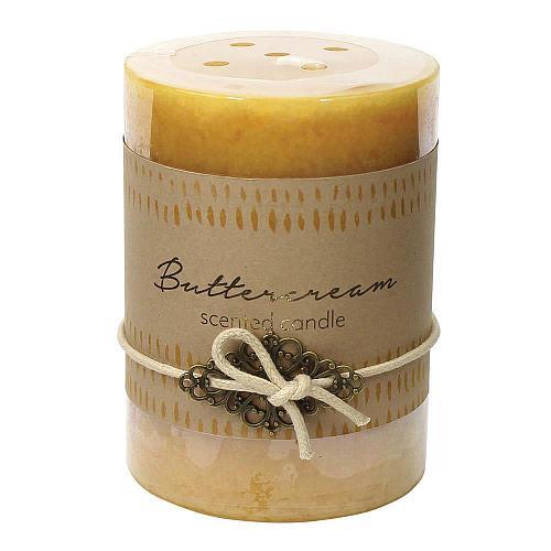 :10926U - 2ct Buttercream Scented Tri-color Cream Pillar Candle 3x4 Charm