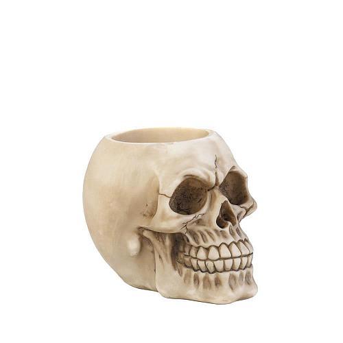 *17865U - Skull Figure Skeleton Head Pen Holder