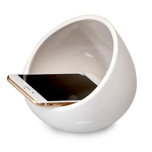 :10642U - White Ceramic Boom Bowl MP3 & Cell Phone Sound Amplifier