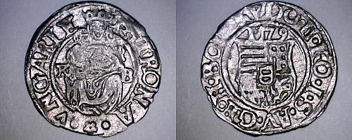 1579-KB Hungary 1 Denar World Silver Coin - Madonna with Child - Rudolf II