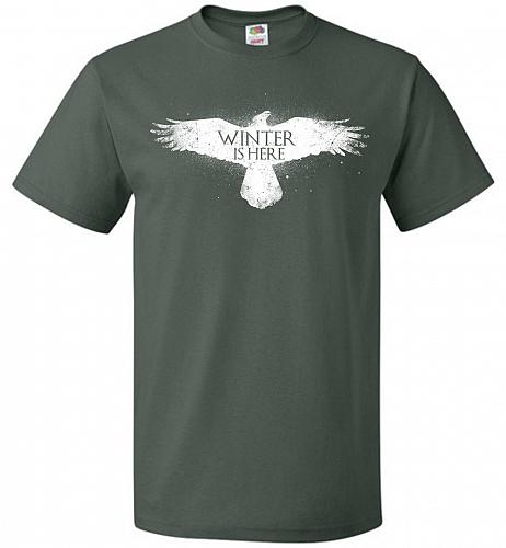 Winter Is Here Unisex T-Shirt Pop Culture Graphic Tee (4XL/Forest Green) Humor Funny