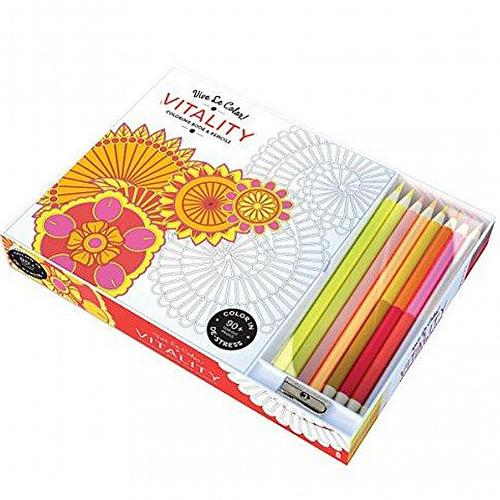 :10955U - Vitality 94 Page Adult Coloring Book w/8 Colored Pencils