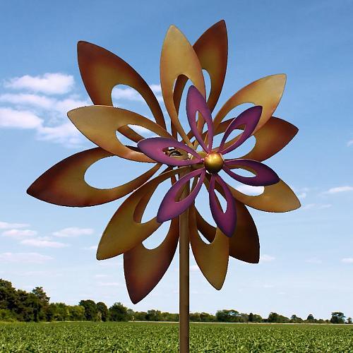 *16772U - Dancing Sunflower Iron Windmill Garden Stake Spinner Yard Art