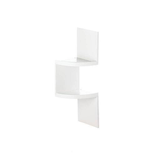 *17990U - Zig Zag 2-Tier White Wood Corner Shelf