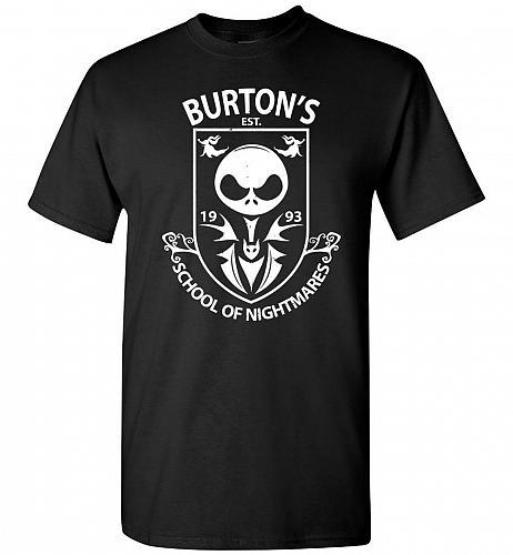 Burton's School Of Nightmares Unisex T-Shirt Pop Culture Graphic Tee (L/Black) Humor