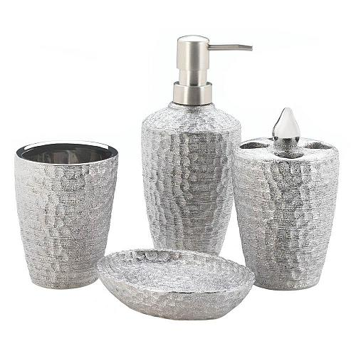 *18258U - Silver Hammered Texture 4pc Porcelain Bathroom Accessory Set
