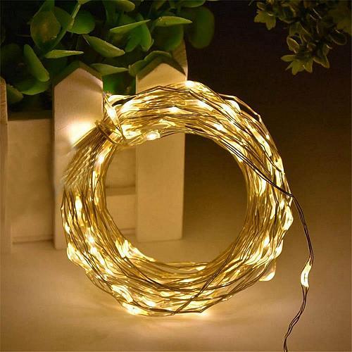 :11028U - 100 LED Fairy Lights Silver Wire USB Powered Warm White