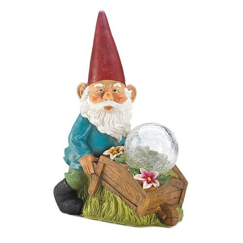 "*18278U - Gnome Wheel Barrow Garden Statue 11.8"" Solar Light Figurine"