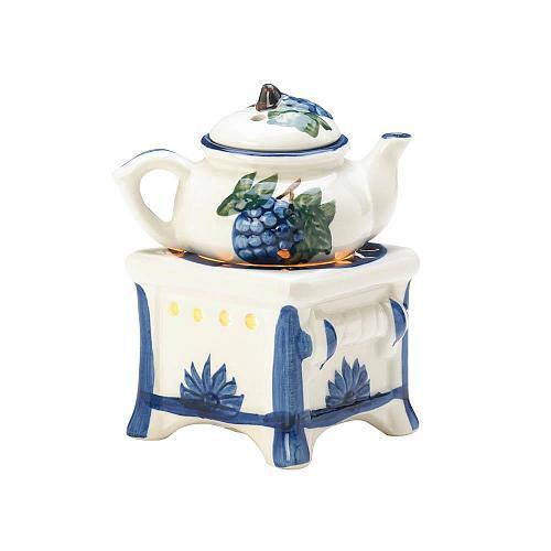 *17713U - Teapot Stove White Porcelain Tea Light Oil Warmer 2pc