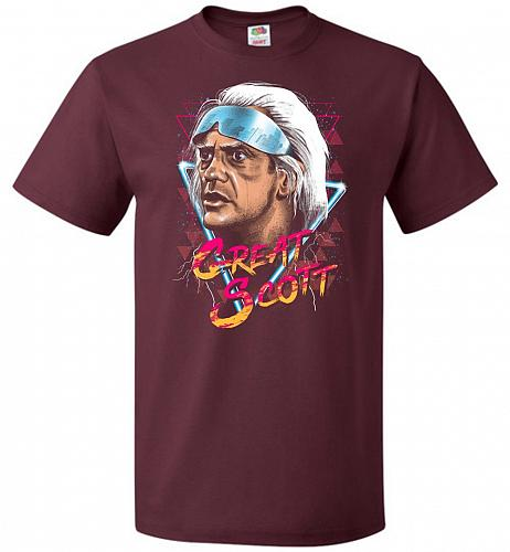 Great Scott Unisex T-Shirt Pop Culture Graphic Tee (L/Maroon) Humor Funny Nerdy Geeky