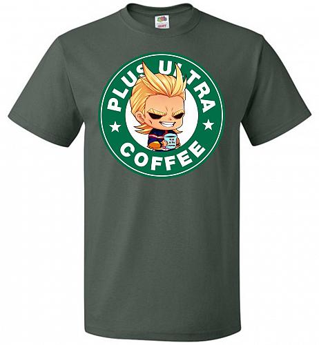 Plus Ultra Coffee Unisex T-Shirt Pop Culture Graphic Tee (L/Forest Green) Humor Funny