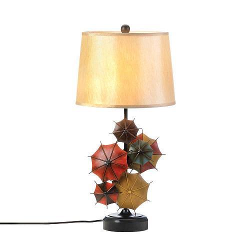 *17286U - Colorful Umbrella Black Round Base Table Lamp Linen Shade
