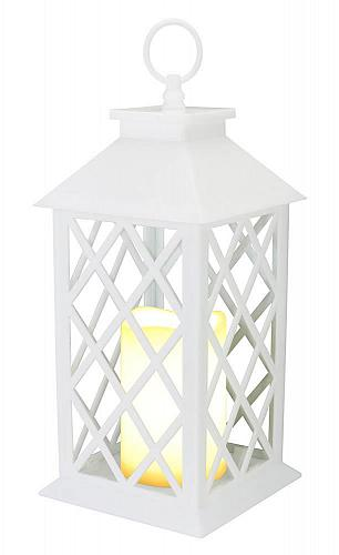 :10823U - White Criss Cross LED Pillar Candle Lantern