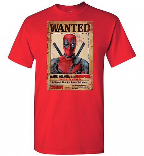 Deadpool Wanted Poster Unisex T-Shirt Pop Culture Graphic Tee (4XL/Red) Humor Funny N
