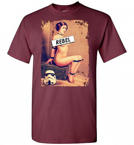 Princess Leia Rebel Unisex T-Shirt Pop Culture Graphic Tee (3XL/Maroon) Humor Funny N