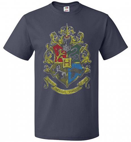 Hogwart's Crest Adult Unisex T-Shirt Pop Culture Graphic Tee (S/J Navy) Humor Funny N