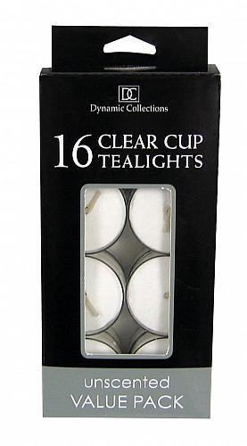 *16507U - White Paraffin Wax Tea Light Candles 16ct Clear Cup