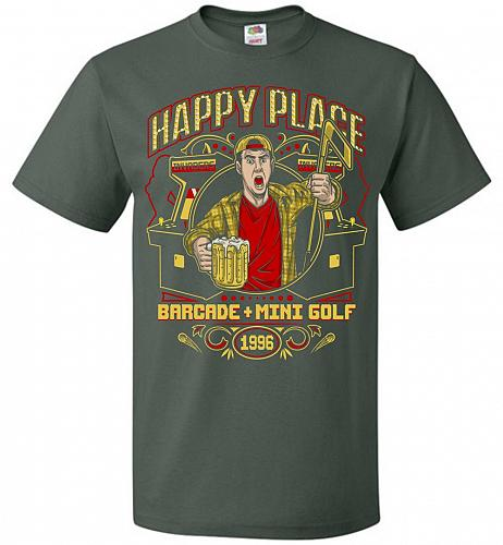 Gilmore's Happy Place Adult Unisex T-Shirt Pop Culture Graphic Tee (M/Forest Green) H