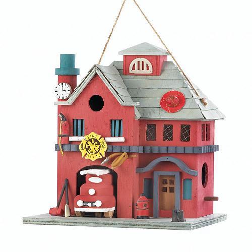 *18082U - Fire Station Red Eucalyptus Wood Birdhouse