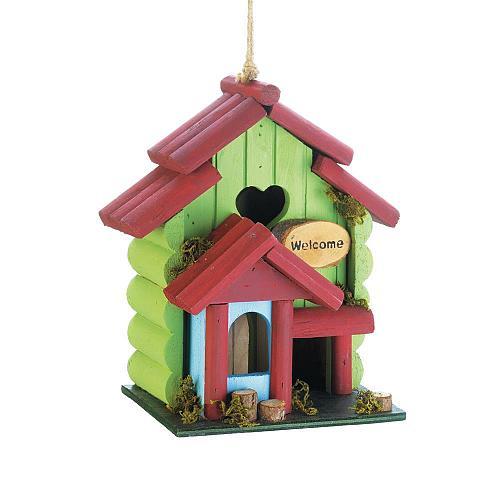 *18413U - Sweetheart Green Rustic Wood Birdhouse