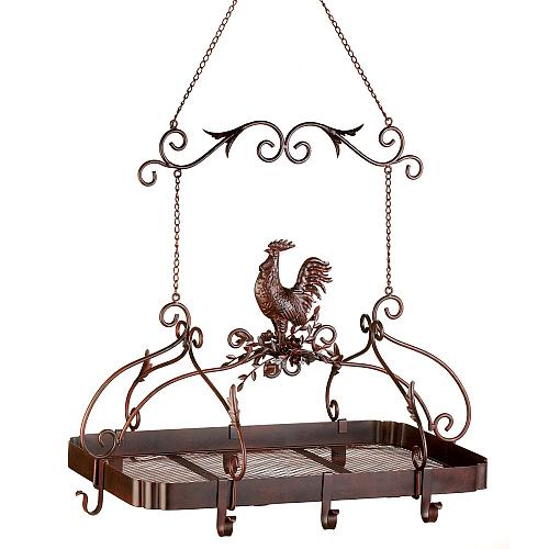 12657U - Country Rooster Rust Finish 8 Hook Kitchen Pot Pan Holder Shelf Rack