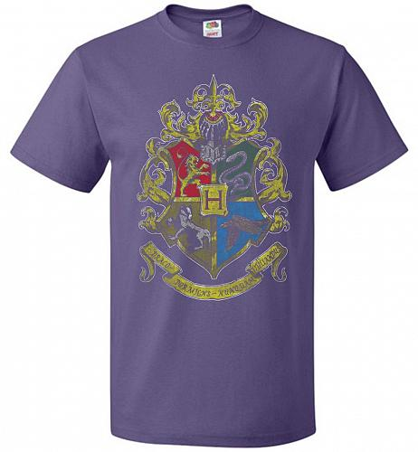 Hogwart's Crest Adult Unisex T-Shirt Pop Culture Graphic Tee (3XL/Purple) Humor Funny