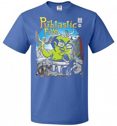 Pubtastic Five Unisex T-Shirt Pop Culture Graphic Tee (M/Royal) Humor Funny Nerdy Gee