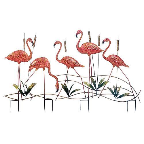 *18330U - Pink Flamingo 5 Birds Yard Art Garden Stake