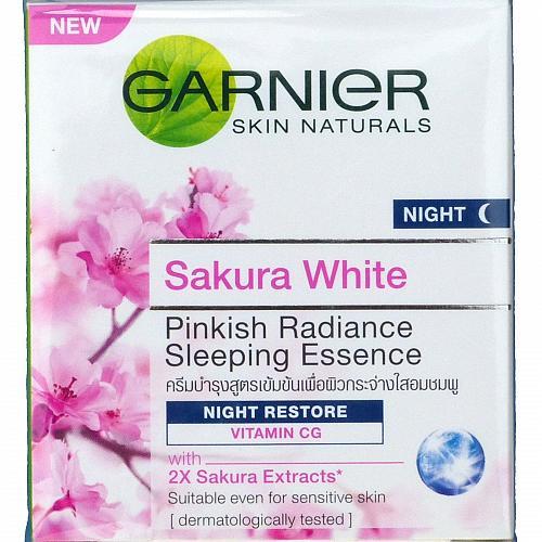 Garnier Sakura White Pinkish Radiance Sleeping Essence Night Restore Cream 50ml