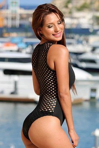 UjENA Black Designer Zip One PieceSwimsuit w/ Mesh Back #X106 SIZE: MED