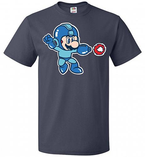 Mega Mario Unisex T-Shirt Pop Culture Graphic Tee (2XL/J Navy) Humor Funny Nerdy Geek