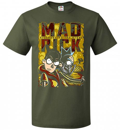 Mad Rick Unisex T-Shirt Pop Culture Graphic Tee (XL/Military Green) Humor Funny Nerdy