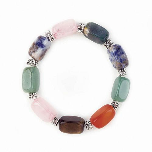 :10610U - Multi Stone Bead Stretch Bracelet Quartz Jade Tigers Eye +More