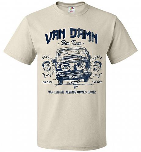 Van Damn Tour Bus Adult Unisex T-Shirt Pop Culture Graphic Tee (XL/Natural) Humor Fun