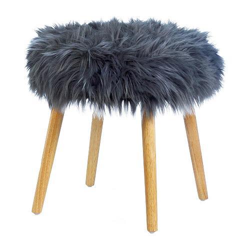 *18180U - Gray Faux Fur Foot Stool w/Wood Legs