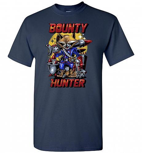 Bounty Hunter Rocket Raccoon Unisex T-Shirt Pop Culture Graphic Tee (4XL/Navy) Humor