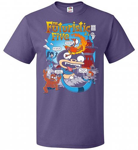 Futuristic Five Unisex T-Shirt Pop Culture Graphic Tee (4XL/Purple) Humor Funny Nerdy