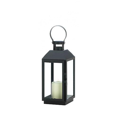 "*18511U - Small 16"" Ebony Black Iron Pillar Candle Lantern Candleholder"