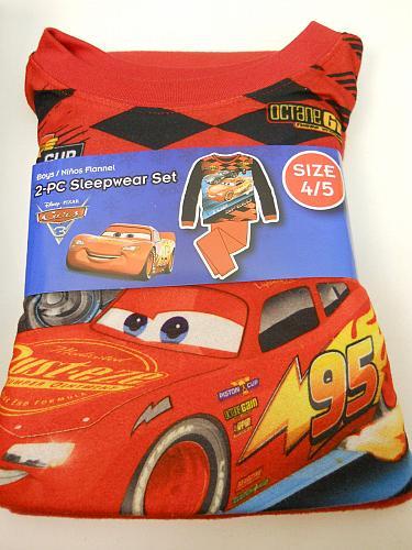 Pajama Set DISNEY PIXAR CARS Boys 2PC Flannel Size 4/5 Crew Neck Long Sleeves