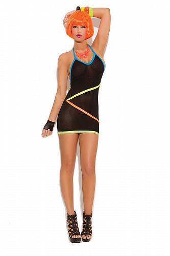 Sexy Halter Micro Mini Dress Neon Yellow Orange Blue Straps Stripes Clubwear